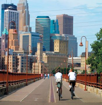 The Stone Arch Bridge and Minneapolis Skyline